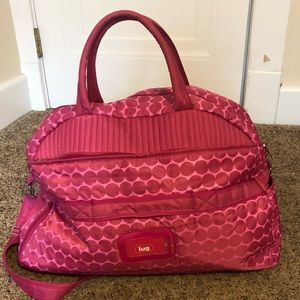 Lug Pink Polka Dot Carry All Travel Duffle Bag